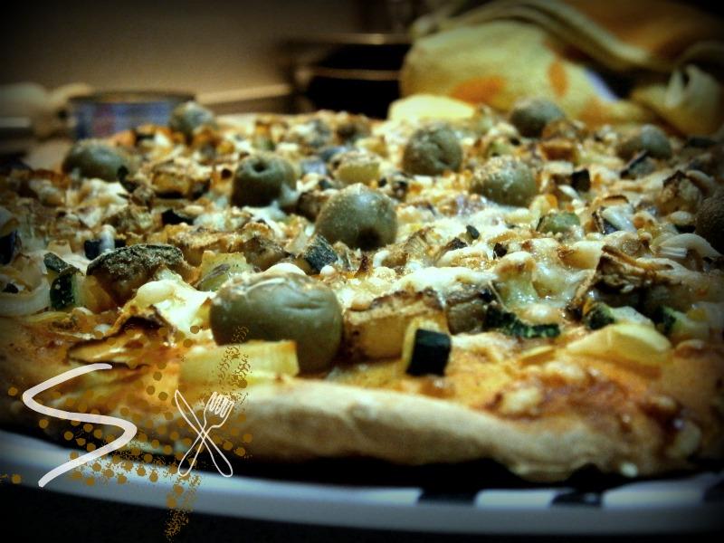 Pizza vegetal con masarápida